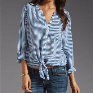 Joie Silk Edaline B Striped Front Tie Blouse